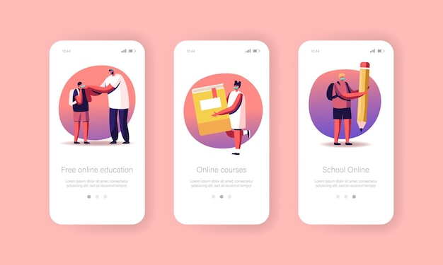 Educazione online, modello di schermo integrato della pagina dell'app per dispositivi mobili torna a scuola