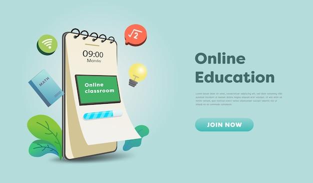 Aula di formazione online sul sito web e sul design del telefono cellulare. concetto di apprendimento intelligente. vista orizzontale. illustrazione di vettore.