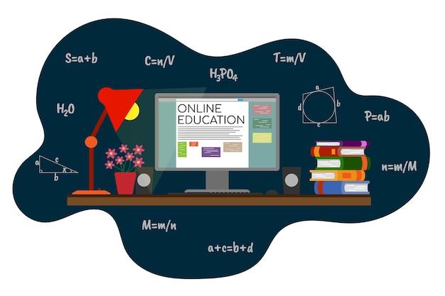 Composizione di istruzione online con libri di computer e formule illustrazione vettoriale piatta