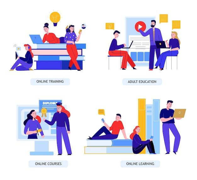 Concetto di educazione online 4 composizioni piatte con corsi di sviluppo per adulti che addestrano l'apprendimento dell'allenatore personale isolato