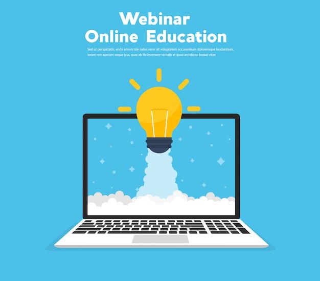 Illustrazione piana dell'insegna di concetto di istruzione online