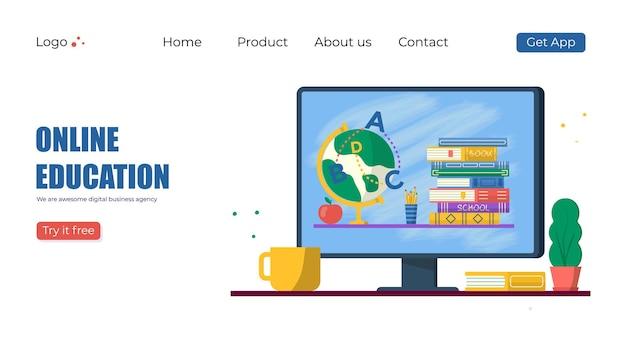 Concetto di formazione online. libri e mappamondo per la promozione del ritorno a scuola. modello vettoriale per banner, invito, annuncio, pagina di destinazione. vecror design moderno.