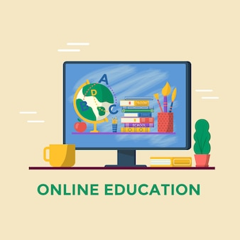 Concetto di formazione online. libri e globo sullo schermo del computer. modello vettoriale per banner, promo, invito, annuncio, pagina di destinazione