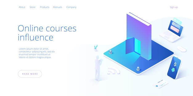 Concetto di formazione online nella progettazione isometrica.
