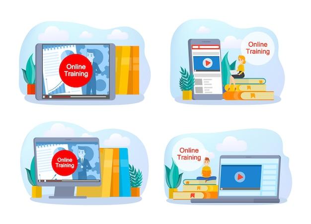 Insieme di concetto di formazione online. idea di apprendimento e conoscenza. studio e formazione online. illustrazione vettoriale isolato