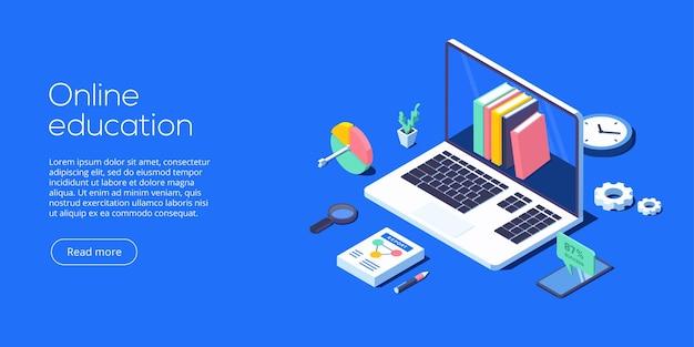 Illustrazione di vettore di concetto di formazione online nella progettazione isometrica formazione a distanza di internet