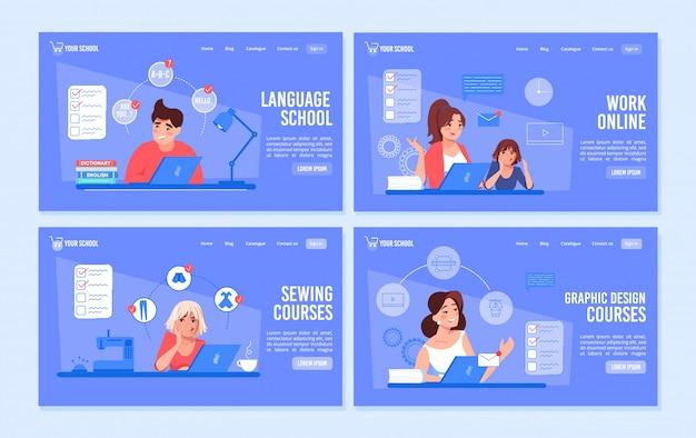 Set di pagine web di lavoro a distanza di corsi di formazione online