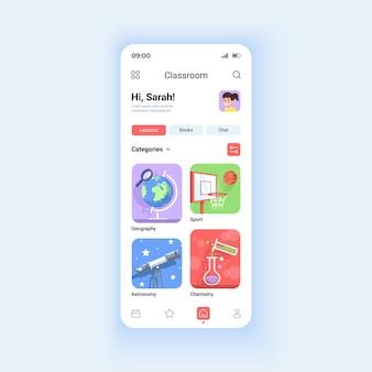 Modello di vettore dell'interfaccia per smartphone in modalità diurna per l'istruzione online