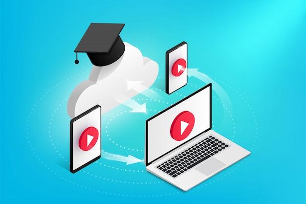 Concetto di design di formazione online. la nuvola isometrica con cappuccio di laurea comunica con laptop, smartphone, tablet. icona di stile piatto. illustrazione di e-learning