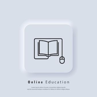Banner di formazione online o esame a distanza. istruzione a distanza, icona di e-book. corso e-learning da casa, studio online. vettore. icona dell'interfaccia utente. pulsante web dell'interfaccia utente bianco neumorphic ui ux. neumorfismo