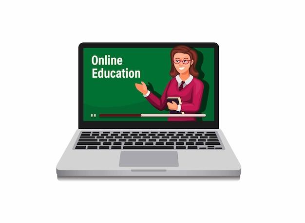 E-learning di formazione online con insegnante donna sul concetto di computer portatile nell'illustrazione del fumetto