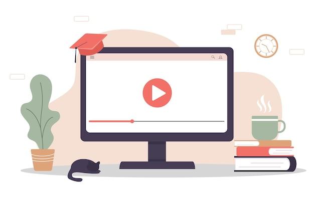 Formazione in linea. concetto di design piatto di formazione e video tutorial.