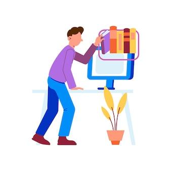 Illustrazione piatta di formazione online con personaggio che sceglie libri virtuali in biblioteca
