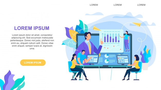 Banner orizzontale di formazione online con spazio di copia
