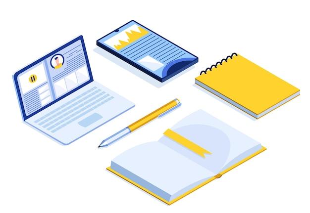 Banner isometrico di formazione online. e-learning a casa per gli studenti. formazione a distanza nell'illustrazione vettoriale dell'ambiente virtuale
