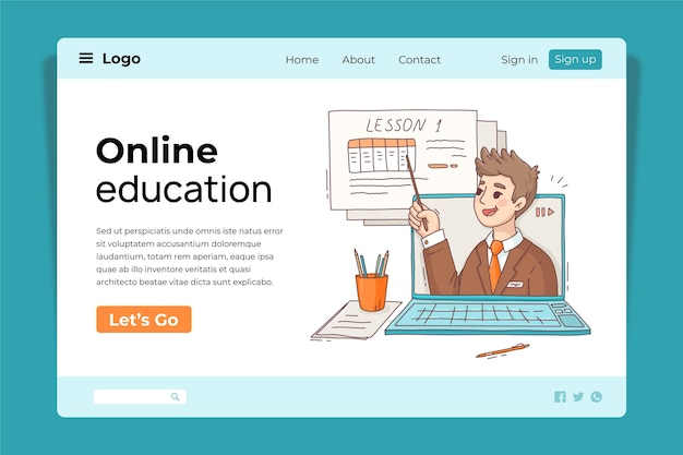 Modello di progettazione della pagina di destinazione dell'istruzione online