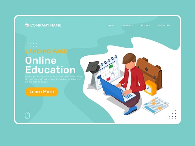 Modello di pagina di destinazione per l'istruzione online con carattere isometrico che studia nel laptop.