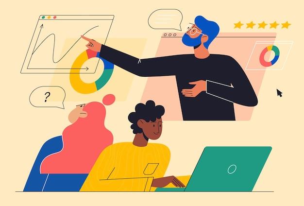 Apprendimento dell'istruzione onlineconcetto dell'istruzione domestica gli studenti hanno una lezione di matematica online