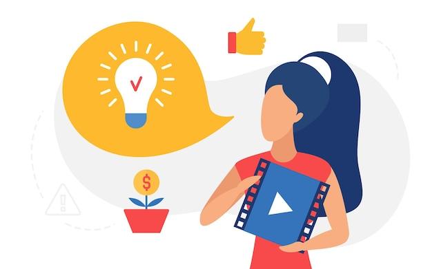 Donna di concetto della lampada della lampadina di istruzione online che tiene il lettore video con il corso di affari