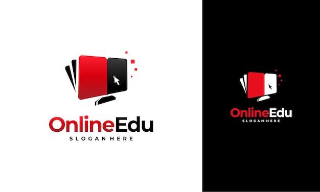 Concetto di progettazione del logo dell'istruzione online, modello di progettazione del logo del libro del computer