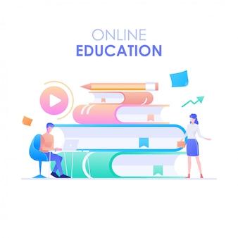 Formazione online, un personaggio di uomo e donna che impara online e una pila di libri sullo sfondo. concetto di formazione online. illustrazione vettoriale di moderno design piatto