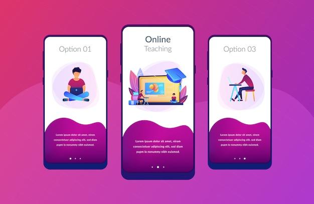 Modello di interfaccia dell'app della piattaforma di formazione online.