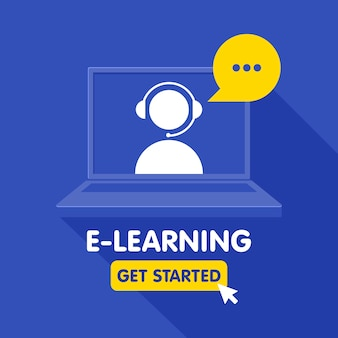 Icona delle risorse di formazione online, corsi di apprendimento online, istruzione a distanza, tutorial di e-learning. modello di banner.