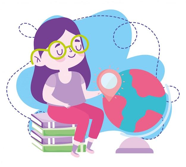 Formazione online, studentessa seduta su libri e mappamondo