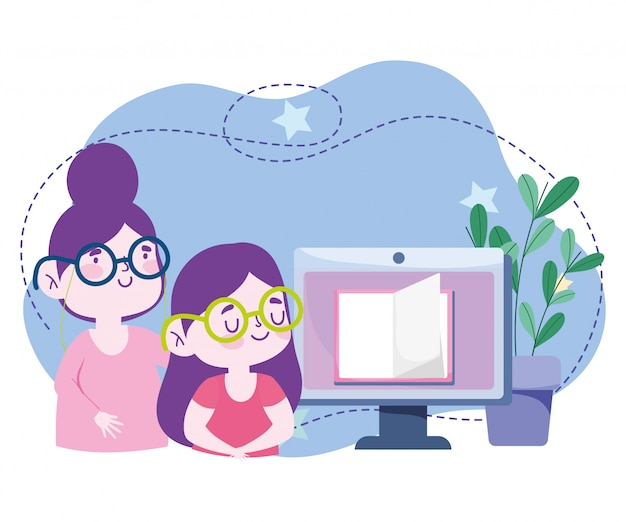 Formazione online, libro di computer insegnante ragazza studente