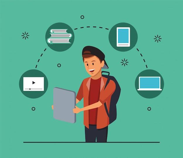 Tecnologia di formazione online con ragazzo studente e gadget