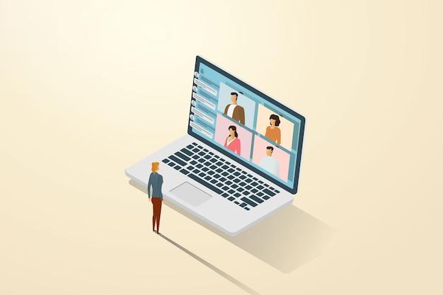 Formazione online tramite videochiamata con collegamenti online come se si studiasse con altri studenti