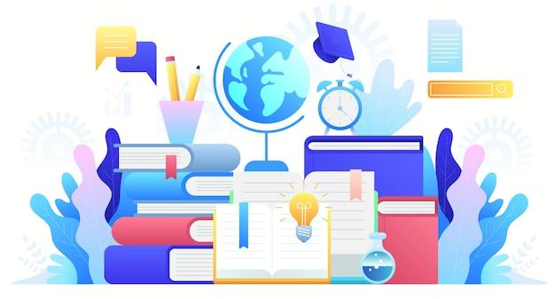 Formazione in linea, corsi di formazione, istruzione a distanza e educazione globale. studio su internet, libro online, tutorial, e-learning. sfondo del concetto