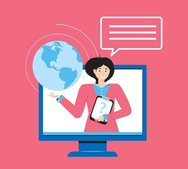 Istruzione online, formazione e corsi, apprendimento, video tutorial. l'insegnante tiene una lezione online attraverso un'applicazione web sul computer. banner di e-learning. educazione domestica. concetto di design piatto