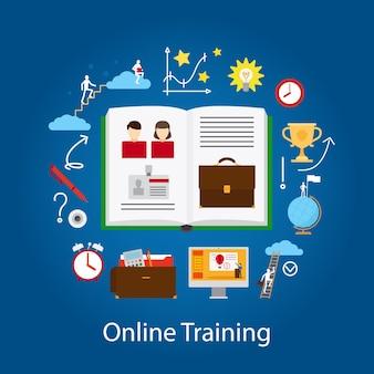 Istruzione online e concetto di webinar. tecnologia di miglioramento della conoscenza. illustrazione.