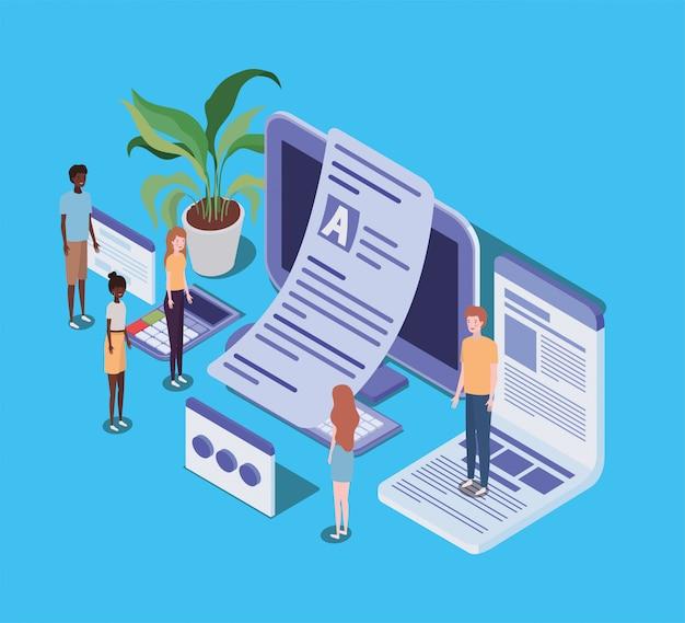Formazione online con desktop e mini persone