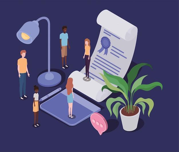 Formazione online con diploma e mini persone