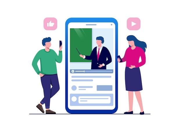 Formazione online con illustrazione vettoriale piatta dello smartphone per banner e landing page
