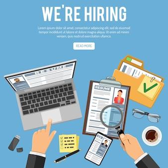 Illustrazione di concetto di reclutamento e assunzione di lavoro online