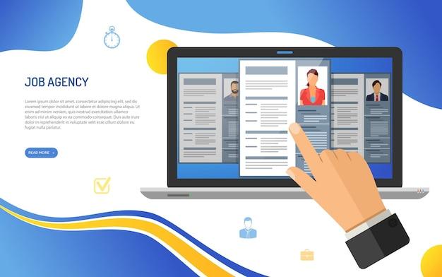 Reclutamento di lavoro online e concetto di assunzione