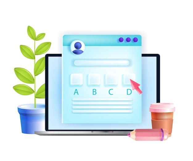 Esame online, test internet, concetto di formazione quiz a distanza, schermo del laptop, questionario.