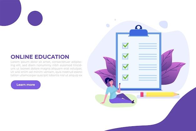 Esame o test online, e-lerning, internet quiz, concetto di formazione online.
