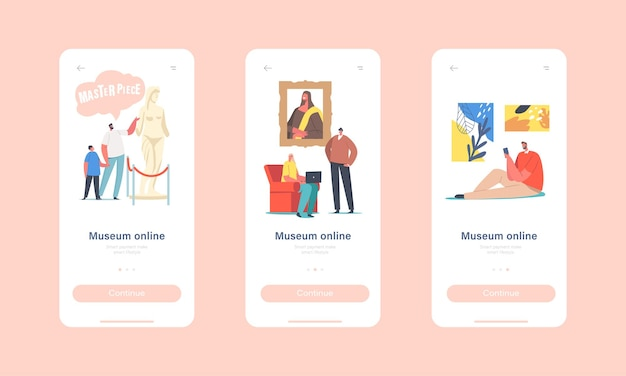 Modello di schermo integrato della pagina dell'app mobile della mostra online. personaggi che visitano il tour virtuale alla galleria d'arte, ammira i capolavori digitali nel concetto di mostra su internet. cartoon persone illustrazione vettoriale