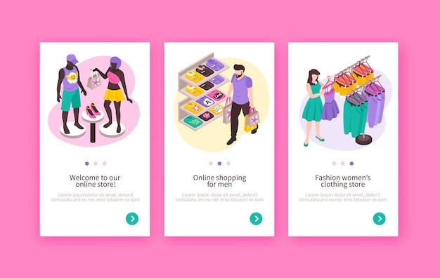 Negozio di abbigliamento di moda online 3 banner web isometrici verticali con scaffali per manichini per vetrine