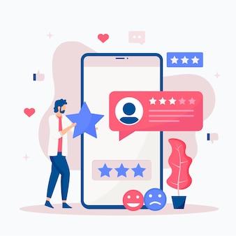 Concetto di illustrazione di feedback online. concetto di opinione, valutazione e recensione dei clienti online. illustrazione.