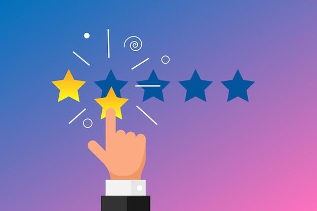 Reputazione online di feedback di cattiva qualità del concetto di recensione del cliente in stile piatto. dito della mano dell'uomo d'affari che indica 2 due stelle d'oro su sfondo sfumato. illustrazione di voto di classifica negativa di vettore