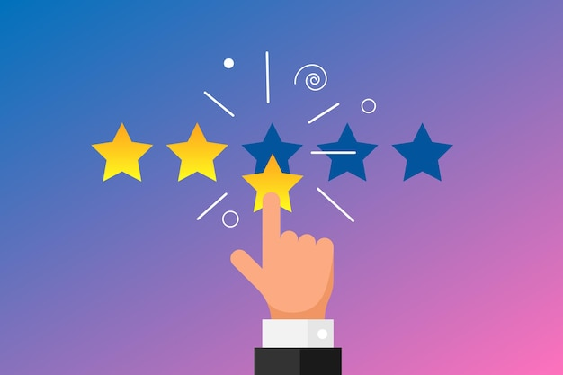 Reputazione di feedback online di buona qualità per il concetto di recensione del cliente in stile piatto. dito della mano dell'uomo d'affari che indica 3 tre stelle d'oro su sfondo sfumato. illustrazione dell'icona di classifica vettoriale