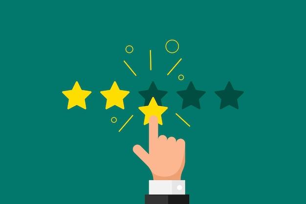 Reputazione di feedback online di buona qualità per il concetto di recensione del cliente in stile piatto. dito della mano dell'uomo d'affari che punta 3 tre stelle d'oro su sfondo verde. illustrazione del risultato del voto di rango vettoriale