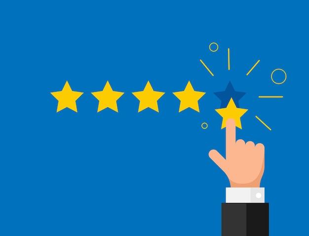 Stile piano di concetto di recensione di cliente di qualità di reputazione di feedback online. dito della mano dell'uomo d'affari che indica cinque stelle d'oro. illustrazione vettoriale. eps10