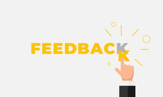 Feedback online, reputazione, qualità, concetto di recensione del cliente in stile piatto. dito della mano dell'uomo d'affari che indica la lettera k nella parola come valutazione a cinque stelle. illustrazione vettoriale eps10