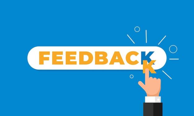 Feedback online, reputazione, qualità, concetto di recensione del cliente in stile piatto. dito della mano dell'uomo d'affari che indica la lettera k nella parola come valutazione illustrazione vettoriale. eps10